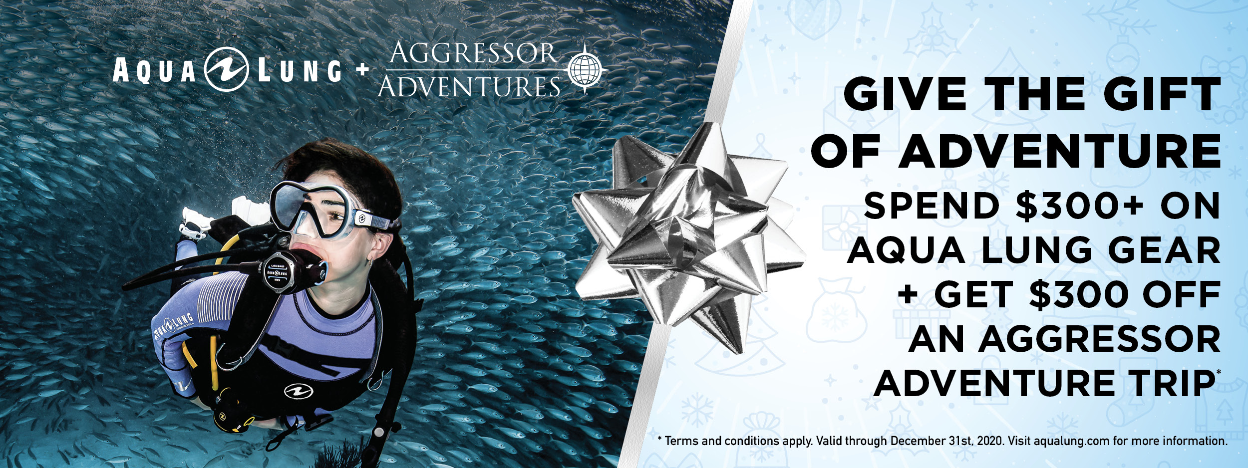 Spend $300+ on Aqua Lung gear and get a $300 voucher with Aggressor
