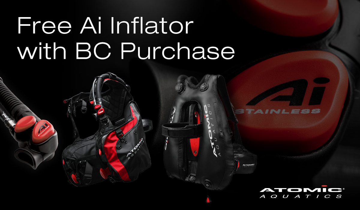 Buy an Atomic Aquatics BC1 or BC2 and get a free stainless steel Ai inflator