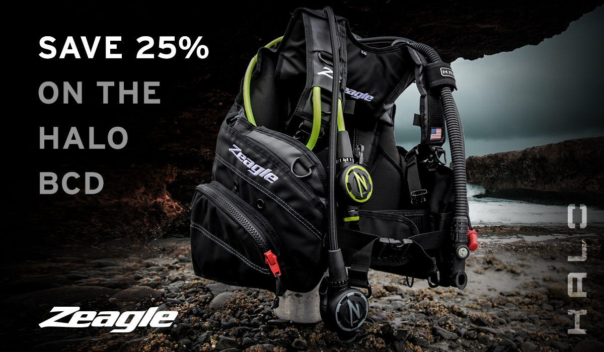 Save $190 when you buy the Zeagle Halo BCD, now only $599.95 through the end of the year
