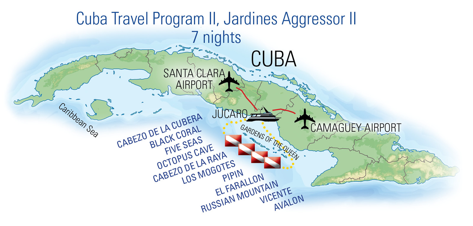 Map of route_Jardines Aggressor II